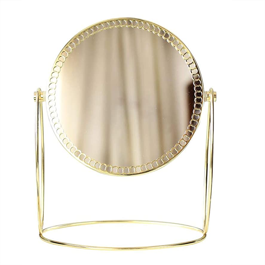 ホバートモス統治可能HUYYA デスクトップ化粧鏡、3倍拡大 化粧ミラー 両面 けメイクミラー 360 °回転バスルームミラー,Gold_8inch