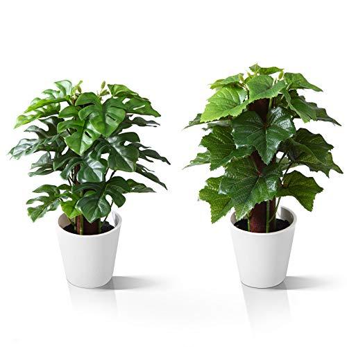Kazeila Mini Plantas Artificiales de Interior en macetas, Planta de plástico Falso de 24 cm para decoración de casa / Oficina / Escritorio (2 Pack)