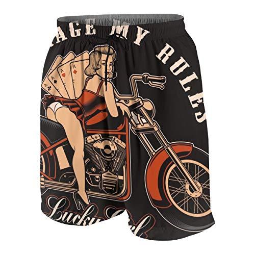 Bestpillow Herren Badeshort Weinlese-Pin-Up-Mädchen mit Motorrad und Spielkarten auf dunklem Hintergrund Strandshorts Swim Trunks XL