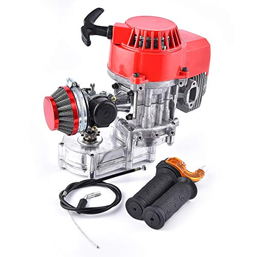 Engine 49cc 52cc Racing Air Filter + Handle Bar + Throttle Cable Performance Motor 2-stroke replacement for Mini Dirt Bike ATV Engine with Gear Box 11T T8F Sprocket New Metal Recoil