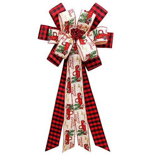 Visbabclub Christmas Tree Topper- Fashion Buffalo Plaid Bow,Ornament Decoration Bow for Christmas Tree Festival Holiday Party - Handmade (A)