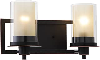 Designers Impressions Juno Oil Rubbed Bronze 2 Light Wall Sconce/Bathroom Fixture with Amber and Clear Glass: 73470