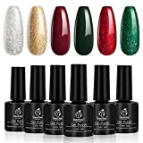 Beetles Gel Nail Polish Set, New Year Kit Sparkle Green Glitter Gold Silver Dark Green Dark Red Soak Off Nail Lamp LED Cured, 7.3ml Each Bottle for Nail Art Design Gift