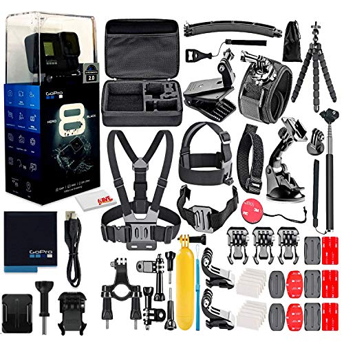 GoPro HERO8 Black Digital Action Camera - Waterproof, Touch Screen, 4K UHD Video, 12MP Photos, Live Streaming, Stabilization - with 50 Piece Accessory Kit - All You Need Bundle (Renewed)