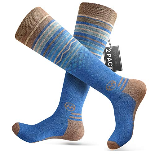 Ski Socks 2-Pack Merino Wool, Non-Slip Cuff for Men & Women - Blue,L/XL