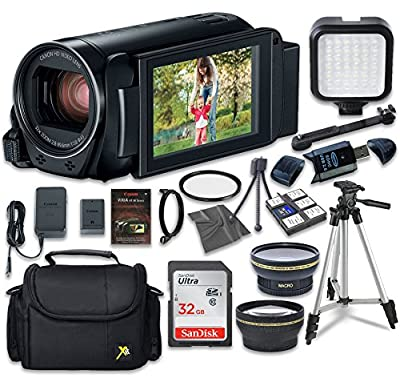 Canon VIXIA HF R80 Camcorder with Sandisk 32 GB SD Memory Card + LED Light + Extra Accessory Bundle from Canon
