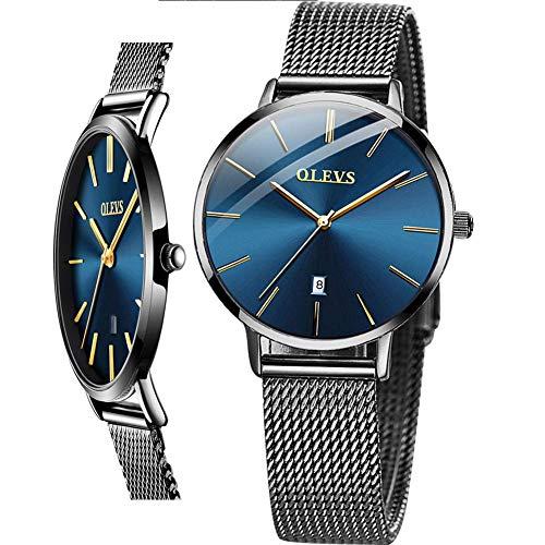 OLEVS - Reloj de pulsera para mujer (versión de lujo actualizada), color oro rosa, malla de acero inoxidable ultra fina, resistente al agua, color negro, blanco y azul