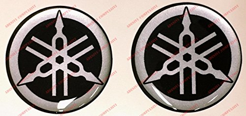 Adesivi Compulsivi sticker Yamaha logo 3D hars sticker voor tank of helm, zwart en zilver