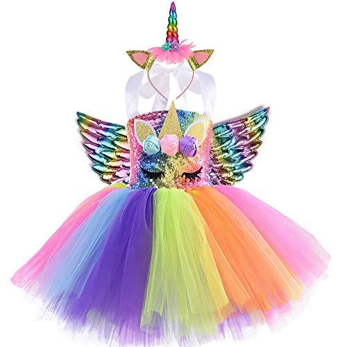 yeesn Disfraz de Unicornio para niñas Unicornio Vestidos Princesa Niña Fiesta de Tul Tutu...