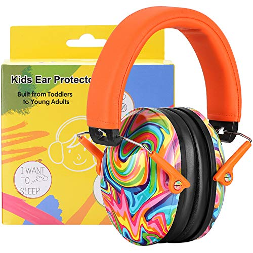 ear protectors for kids PROHEAR 032 Kids Ear Protection Safety Ear Muffs, NRR 25dB Noise Reduction Childrens Earmuffs, Adjustable Headband Hearing Protectors for Sports Events, Concerts, Racing, Airports - Lollipop Pattern