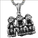 Dixinla Retro Punk Three Monkeys Colgante Collar Hombre Creativo Acero Inoxidable Hip Hop Monos Suéter Cadena Gadgets Joyas, Regalo de Cumpleaños Fiesta Halloween Navidad,60CM