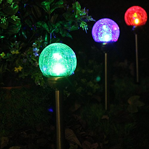2 Pack Luces Solares Exterior Jardin Decoracion, LED de Cambia Color Diseño de Bola de Vidrio de Crackle para Jardín, Patio, Terraza, Navidad de NORDSD