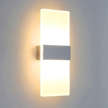 Lightess Applique Murale Intérieur LED 6W Lampe Murale Moderne en Acrylique Aluminium Eclairage Lumière pour Chambre Chevet Couloir Salon Salle Bureau Restaurant Bar Lit Hôtel Blanc Chaud