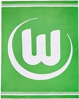 VfL Wolfsburg Fleecedecke - Logo grün-weiß - Kuscheldecke Sofadecke Decke L