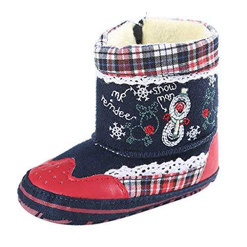 NINGSANJIN Weihnachten Babyschuhe Kleinkind Baby Mädchen Warm Halten Niedlich Verdicken Schneestiefel Weiche Sohlen Krippe Schuhe Stiefel Winterstiefel C-239