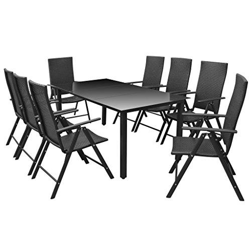 vidaXL Mobilier à Dîner d'Extérieur 9 pcs Salon de Jardin Mobilier de Patio Table et Chaises de Terrasse Aluminium et Résine Tressée