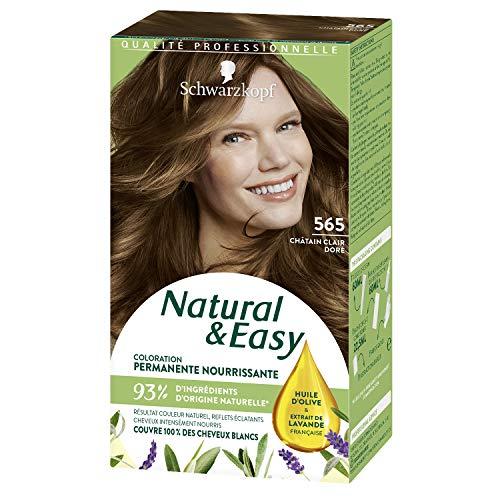 Schwarzkopf - Natural & Easy - Coloration Permanente Naturelle Cheveux - Huile d'olive et Extrait de Lavande - 93 % d'ingrédients d'origine naturelle - Châtain Clair Doré 565