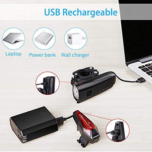 Antimi LED Fahrradlicht Set【Neueste Modell】, StVZO Zugelassen USB Wiederaufladbar Fahrradlichter Fahrradlampe Set, IPX5 Wasserdicht Frontlicht & Rücklicht Lampenset mit Samsung 2600mAh Li-ion Akku - 6
