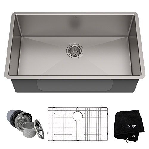 Kraus KHU100-32 Standart PRO 16 Gauge Undermount Single Bowl Stainless Steel Kitchen Sink, 32 Inch