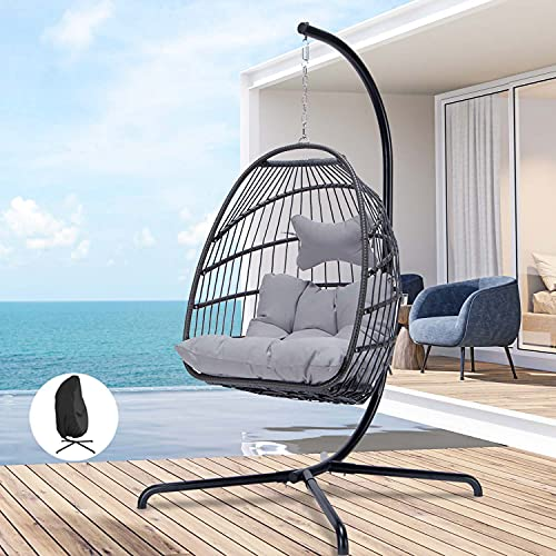 Swing Egg Chair with Stand Indoor Outdoor Wicker Rattan Patio Basket Hanging Chair with UV Resistant Cushions Aluminum Frame 350lbs Capaticy for Bedroom Balcony Patio (Grey with Cover)