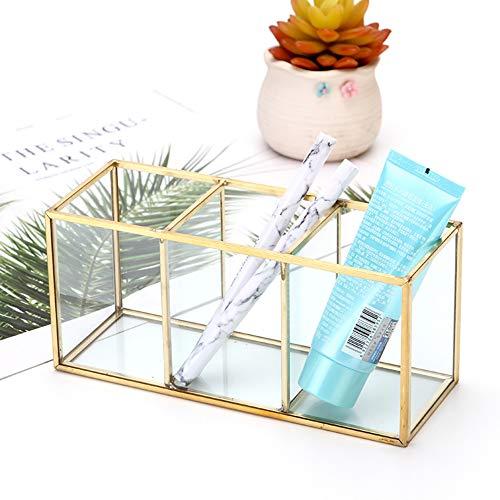 Magiin Boîte à Bijoux en Verre Transparent avec Bordure Laiton pour Rangement Bijoux Bagues Pinceau de Maquillage, 3 Compartiments Maquillage Container