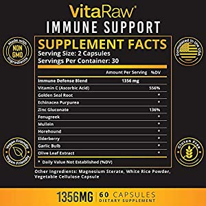 VitaRaw Immune Support Vitamins - Zinc, Elderberry, Vitamin C, Echinacea, Olive Leaf, Goldenseal | Powerful Immunity Booster Capsules for Adults | Immune System Booster Supplement #4