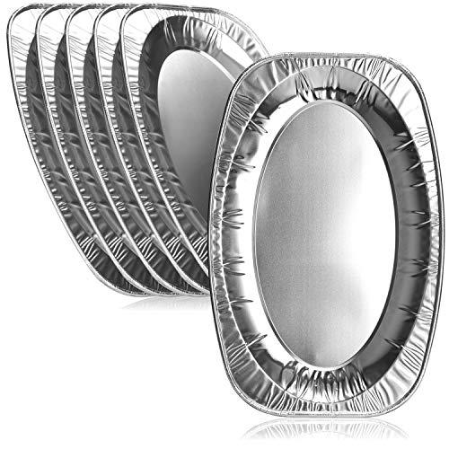 com-four® 6X Einweg-Servierplatte aus Aluminium, ovale Serviertabletts für Hochzeit, Catering, Gastro, Geburtstag oder Party (42.5x28.5cm - 06 Stück)