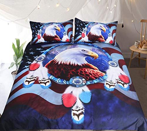 AJ WALLPAPER 3D Red Blue 31996 Bettwäsche-Set für Einzelbett, Queen-Size-Bett, 3D-Foto-Bettwäsche, Motiv: UK Angelia (Super King-Size: 225 x 260 cm ± 4 cm)