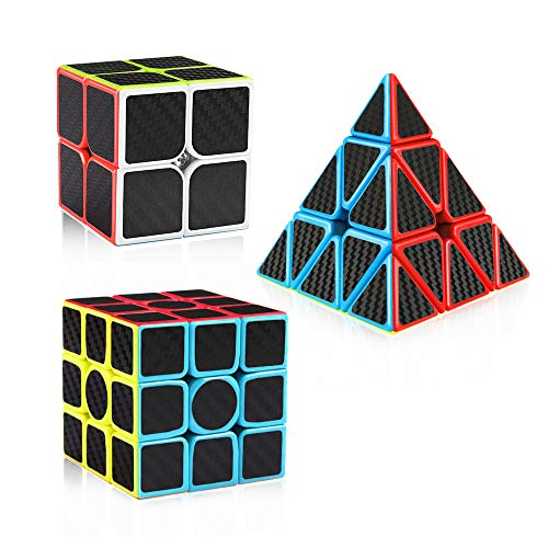 D-FantiX Speed Cube Carbon Fiber 2x2 3x3 Pyramid Speed Cube Bundle, 2by2 3by3 Pyramid Speed Cubes Set Magic Cube Toys for Kids Adult