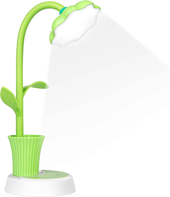 Lampara Escritorio LED, Flexo de Escritorio, Lámpara Escritorio con Panel Táctil, Lámparas de Mesa USB Regulable Recargable, Lámpara con Portalápices para Trabajo, Leer, Estudiar,Protege a ojos(Verde)