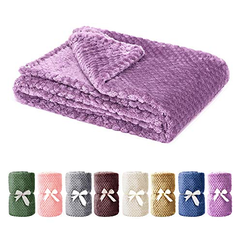 Msicyness Dog Blanket, Premium Fleece Fluffy Throw Blankets Soft and Warm Covers for Pets Dogs Cats(Medium Purple)