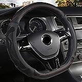 Qind1aS - Funda para volante de coche con forma de D para VW Golf 7 8 2015 Polo JATTA Accesorios interiores (negro)