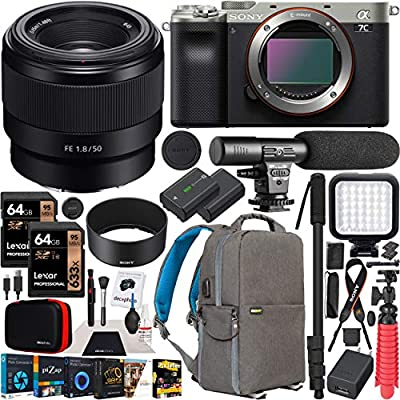 Sony a7C Mirrorless Full Frame Camera Body FE 50mm F1.8 Full-Frame Lens SEL50F18F Silver ILCE7C/S Bundle with Deco Gear Photography Backpack Case, Software and Accessories from Sony