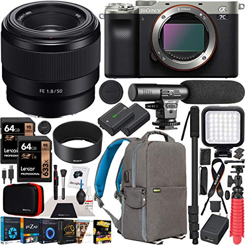 Sony a7C Mirrorless Full Frame Camera Body FE 50mm F1.8 Full-Frame Lens SEL50F18F Silver ILCE7C/S Bundle with Deco Gear Photography Backpack Case, Software and Accessories