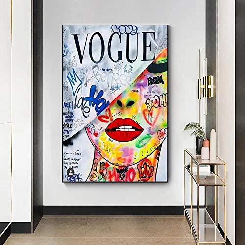 MKWDBBNM Pop Art Love Vogue Woman Pintura en Lienzo Mordern Street Art Posters e Impresiones Imágenes artísticas de Pared para la decoración del hogar de la Sala de Estar   60x80cm Sin Marco