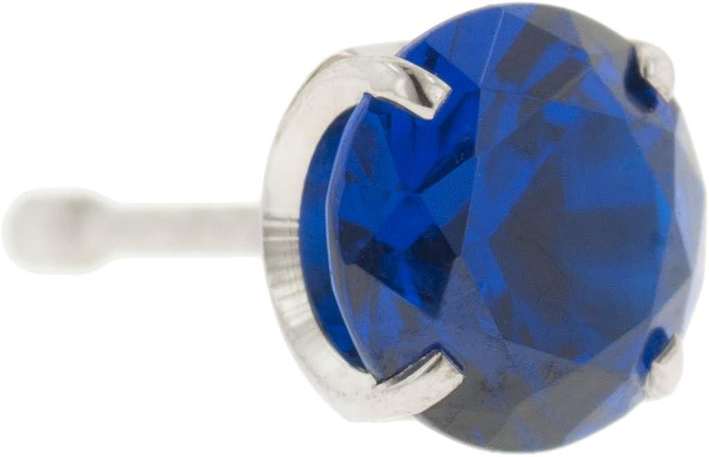 Steel Navel Body Jewelry Threadless Titanium Prong-Set Faceted Gem End: 14g High Polish, Gem: 2.5mm, Sapphire Gem