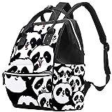 WJJSXKA Mochilas Bolsa de pañales Mochila para portátil Mochila de viaje Senderismo Mochila para mujeres Hombres - Vector de ilustración de panda