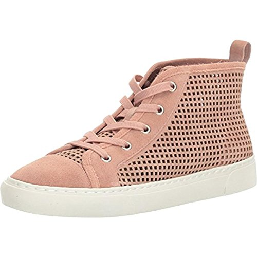 1.State Dulcia Blush Suede Perforated White Sole LaceUp High-Top Fashion Sneaker (9.5)