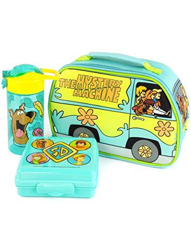 Scooby-Doo Lunchbox Mystery Machine Lunch Bag Set di bottiglie e snack