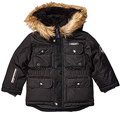 LONDON FOG Boys' Toddler Warm Winter Coat Parka with Cozy Hood, Black with Trim, 4T