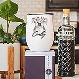 Koala - Vaso de vino con tapa de doble pared aislado al vacío para mujer, acero inoxidable, taza de viaje para cóctel de champán