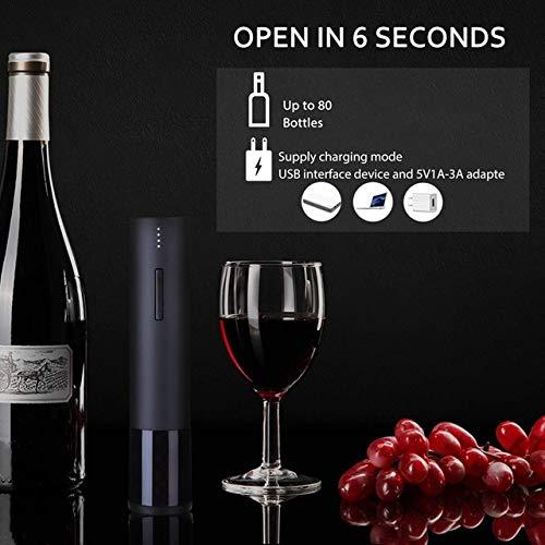 Elektrischer Weinöffner, wiederaufladbar, automatischer Weinflaschenöffner, langlebiger Edelstahl-Korkenzieher Schwarz