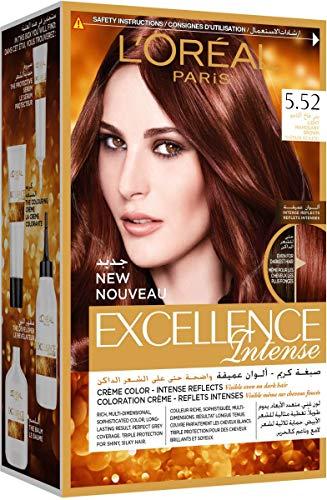 L'Oreal Paris Excellence Intense Permanent Hair Color, 5.52 Light Mahogany Brown