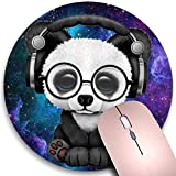 Round Mouse Pad,Adorable Panda Baby Wearing Glasses and Headphones Non-Slip Rubber Circular Mouse Pads Customized Designed for Home and Office,7.9 x 7.9inch