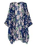OLRAIN Women's Floral Print Sheer Chiffon Loose Kimono Cardigan Capes...