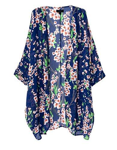 OLRAIN Women's Floral Print Sheer Chiffon Loose Kimono Cardigan Capes Blue Medium