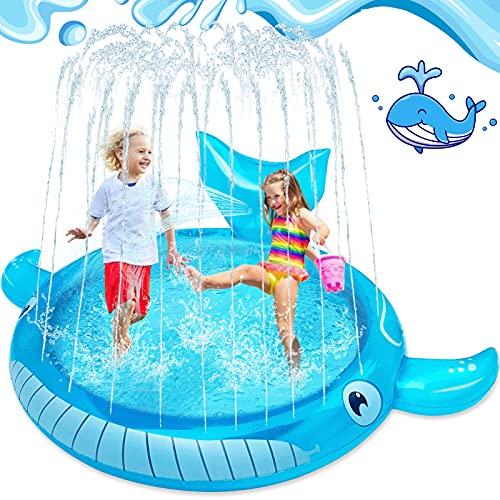 LUKAT Splash Pad 172cm Sprinkler Matte Wasserspielzeug Planschbecken Splash Matte Spielmatte Sommer Aufblasbar Sprinklerpool Outdoor Party für Kinder Sprinklerpad Garten für Jungen und Mädchen