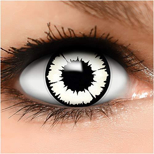 Farbige Kontaktlinsen 'New Vampire' in schwarz & weiß, weich ohne Stärke, 2er Pack inkl. Behälter - Top-Markenqualität, angenehm zu tragen und perfekt zu Halloween oder Karneval