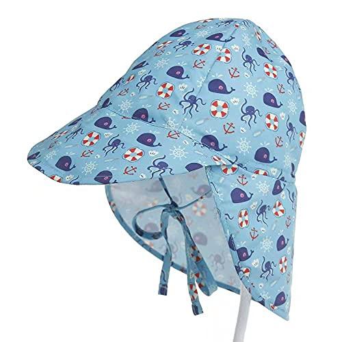 VZF Baby Sonnenhut mit Nackenschutz Unisex Schirmmütze UV Schutz Sommer Strandhut für Jungen Mädchen mit Bindebändern Atmungsaktiver Niedlicher Muster Fisherhutfür (48-54 cm, Dunkelblau)
