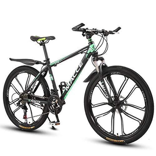 GL SUIT 24-Gang-Fahrrad Mountainbike für Erwachsene, Doppelscheibenbremsen, leichte Carbon Stahlrahmen, stoßdämpfender Federgabel, Hard Tail, Unisex,Grün,24 inches